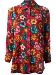 Kenzo Vintage Floral Print Blouse And Skirt Ensemble Red