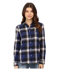 Roxy Campay Long Sleeve Shirt Moon Plaid Combo Blue Print Women's Long Sleeve Button Up