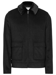 Reiss Shine Wool Faux Fur Collar Jacket Charcoal