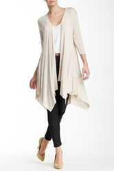 Hip Drapey Front Duster Cardigan Beige