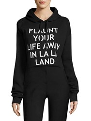 Each X Other Cropped Graphic Hooded Sweatshirt Black
