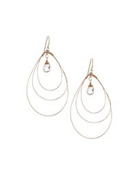 Rafia 3 Hoop Teardrop Earrings W White Topaz Center Golden