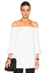 Tibi Off Shoulder Lantern Tunic In White