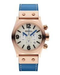 Brera Unisex Rose Gold Eterno Piccolo Leather Watch Blue
