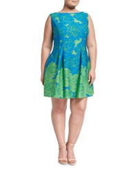 Taylorplus Floral Print Scuba A Line Dress Lime