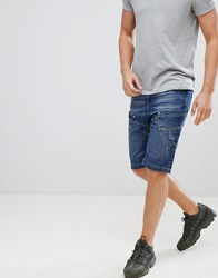 Crosshatch Dark Wash Panelled Denim Shorts Dark Wash Navy