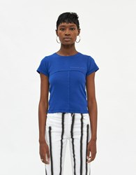 Eckhaus Latta Lapped Baby T Shirt In Cobalt Size Extra Small 100 Cotton