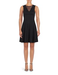 French Connection Sleeveless Illusion Fit And Flare Dress Black