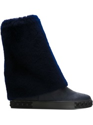 Casadei Fold Over Mid Calf Boots Blue