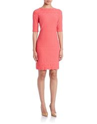 Julia Jordan Embroidered Sheath Dress Coral