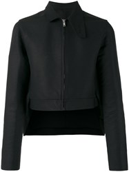 Rick Owens Cropped High Low Hem Jacket Black