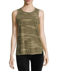 Current Elliott The Muscle Tee Camo Print Tank Green Pattern