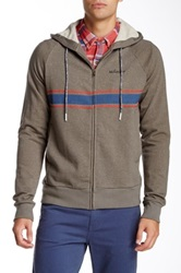 Vanishing Elephant Paneled Zip Through Hooded Sweatshirt Gray