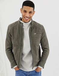 Selected Homme Suede Racer Jacket Grey