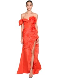 Ermanno Scervino Long Asymmetrical Ruffled Dress Red