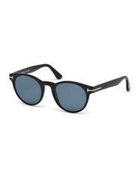 Tom Ford Palmer Polarized Round Acetate Sunglasses Black Blue