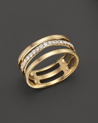Bloomingdale's Diamond Triple Row Ring In 14K Yellow Gold .25 Ct. T.W. White Gold