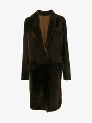 Yves Salomon Shearling Knee Length Coat Brown Denim