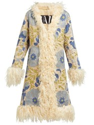 Zazi Vintage Suzani Embroidered Shearling Lined Coat Blue White
