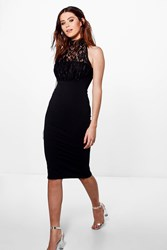 Boohoo Luna Lace Low Back Dress Black