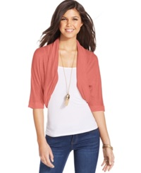 Amy Byer Bcx Juniors' Cropped Cocoon Cardigan Coral