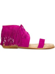 Paul Andrew Fringed Flat Sandals Pink And Purple