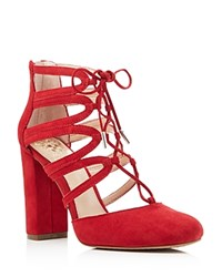 Vince Camuto Shavona Lace Up High Heel Pumps Red Rose