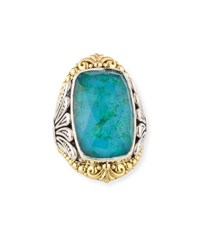 Konstantino North South Crystal Quartz Over Chrysocolla Doublet Ring Blue