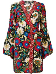 Anjuna Floral Wrap Mini Dress Red