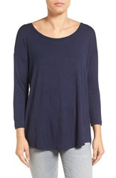 Pleione Women's Tie Back Tee Navy
