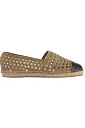 Loeffler Randall Mara Perforated Leather Espadrilles Army Green