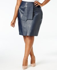 Melissa Mccarthy Seven7 Trendy Plus Size Faux Leather Skirt Evening Blue