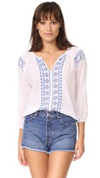 Sundry Split Neck Top With Embroidery White