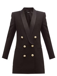 Balmain Double Breasted Crepe Blazer Dress Black