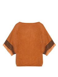 Issey Miyake Bark Oversized Cotton Knit Top Camel