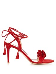 Gianvito Rossi Flora Suede Sandals Red