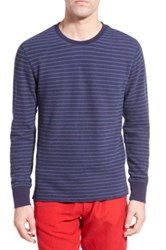 Relwen Stripe French Terry Long Sleeve Crewneck Sweater Blue