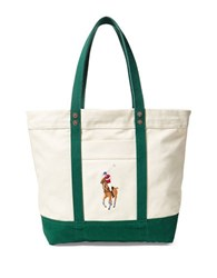Polo Ralph Lauren Big Pony Canvas Tote Green And Natural