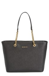 Michael Michael Kors 'Jet Set Travel Chain Multifunction' Leather Tote Black Black Gold
