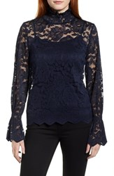 Everleigh Stretch Lace Top Navy