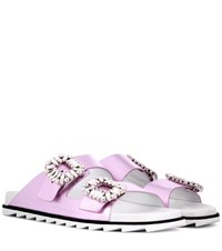 Roger Vivier Slidy Viv Leather Slip On Sandals Pink