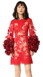 Marchesa Cocktail Dress With Organza Flowers Red