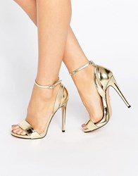 Lost Ink Raula Gold Ankle Strap Heeled Sandals Rose Gold