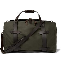 Filson Leather Trimmed Twill Duffle Bag Green