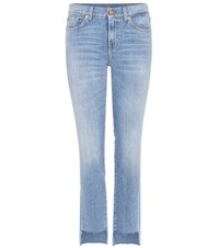 7 For All Mankind Mid Rise Roxanne Jeans With Cropped Step Hem Blue