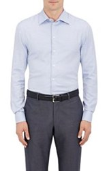 Giorgio Armani Micro Check Cotton Shirt Blue