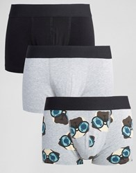 Asos Hipsters With Pug Print 3 Pack Multi