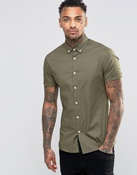 Asos Skinny Shirt In Burnt Olive With Button Down Collar Burnt Olive Green