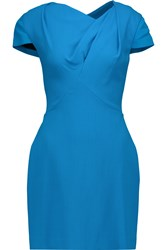 Roland Mouret Lurey Gathered Wool Blend Crepe Mini Dress Blue