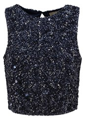 Lace And Beads Vest Navy Dark Blue